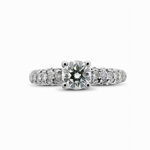 Brilliant Cut Solitaire Ring With Pave Set Shoulders